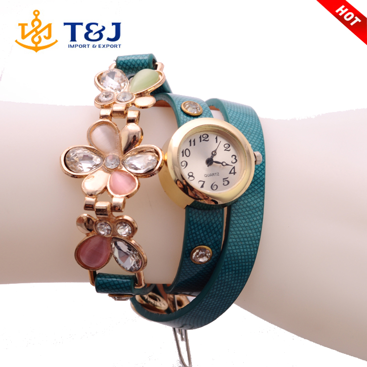 2016 Wholesale crystal flower quartz chain watch gold plated green leather wrist watch for women