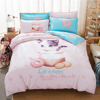 custom cat print oem children bedding set