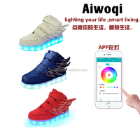 2016 Fashion App exclusive colorful wing blue red white black pink led light casual shoes for child kid shoes