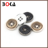 // Unique design resin buttons for coats windcoats overcoats // black and white 4 hole resin buttons // BK-BUT592