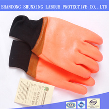 PVC winter gloves fluorescent PVC cold gloves acid and alkali gloves