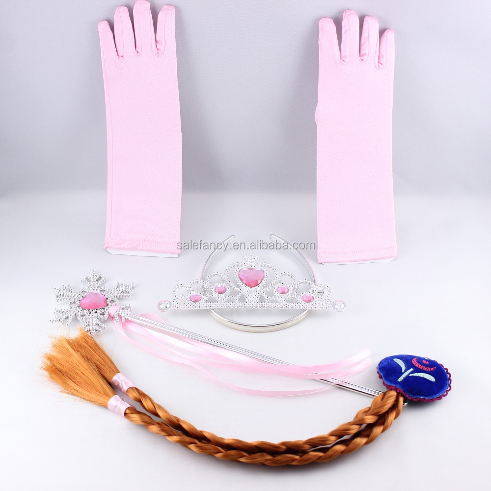 White kids hat scarf elsa gloves set thin cotton hand gloves QCGV-8059