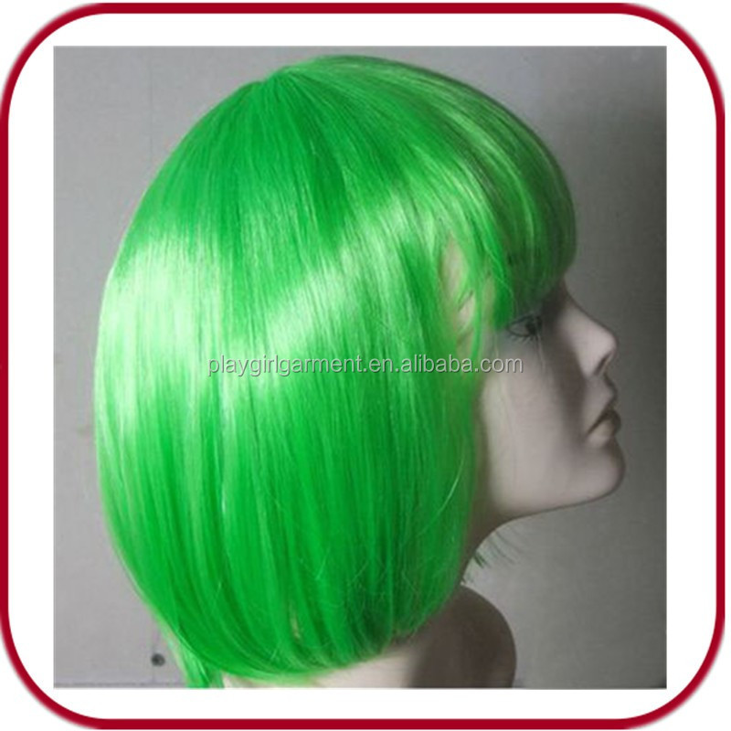 Green human hair full lace wig PGW-1760