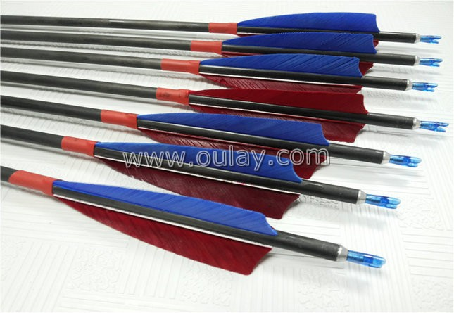 wooden grain/veins wooden pattern for carbon arrows 6.2mm in ID with yellow striped fletchings