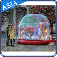 Customized Inflatable Snow Globe with Christmas Tree/ Clear PVC Snow Globe Christmas Dome for Car Show Advertising Display