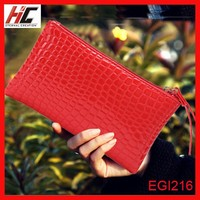 From Guangzhou cheap high quality red clutch wallet 2015 crocodile skin PU leather long lady wallet