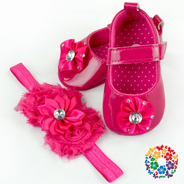 pink heart valentine's day girls shoes kids with matching headband wholesale 2016