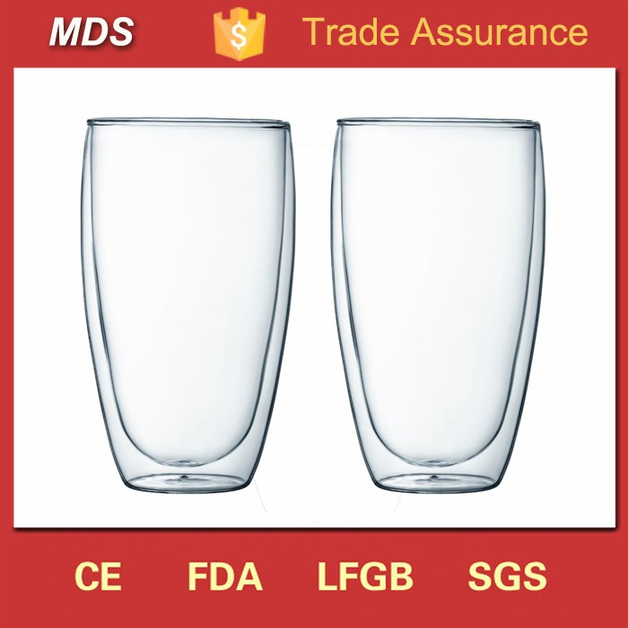 Clear borosilicate 450ml double wall glass mug without handle