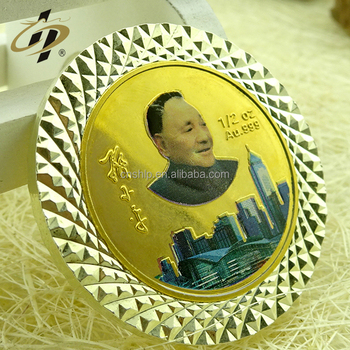 Promotional cheap custom metal gold in memoriam great man portraits souvenir coin