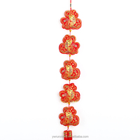 Exquisite Chinese new year traditional lucky hanging decoation for room/car red lucky fish and Fu pocket with tassel