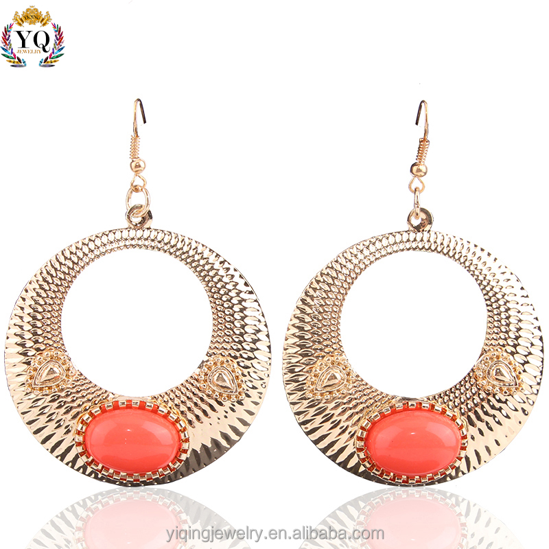 EYQ-00079 new 2016 latest design fake gold jewelry fashion big round shaped alloy acrylic drop pendant earrings