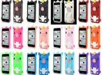 Black for iPhone 5c Cute Crown Pig Soft Silicone Case