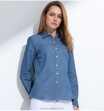 Women Denim Long Sleeve Shirt Blouses Jeans Classic Shirt Cotton Slim Tops Sport-Style Leisure Clothing