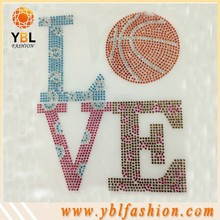 Hot Sale Fashion adhesive rhinestone letters stickers for Shirt