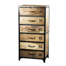 Chevet Style Industrial Six Drawer Large Cabinet