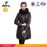 Luxury Fox Fur Trimmed Genuine Jacket Women's Down Coat for Winter Long Design