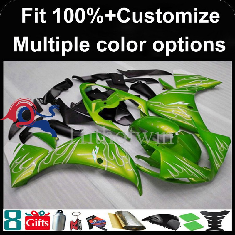 Injection mold green motorcycle cowl for Yamaha YZF-<strong>R1</strong> 2009-<strong>2011</strong> 09 10 11 YZFR1 2009 2010 <strong>2011</strong> ABS Plastic Fairing