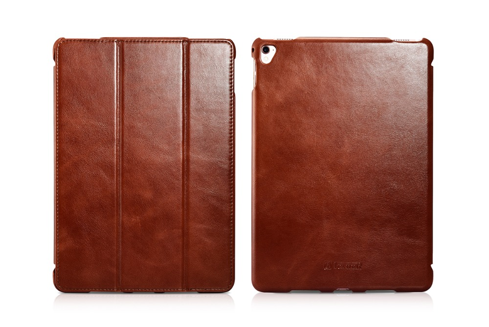 Original Icarer Vintage Series Genuine Leather Cover for iPad Pro 9.7 inch Retro Leather Maganetic Smart Flip Case MT-5584