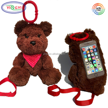 F298 Teddy Bear Phone Case Super Plush Secure Loop Strap Bean Bags Stability Animal Shaped Cases