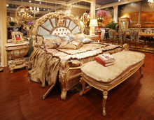 Fabulous French Rococo Style Bedroom Furniture Set/ Royal Fantastic King & Queen Size Wooden Carved Double Bed