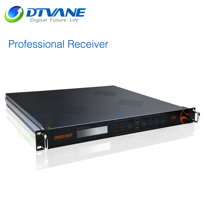 SD HD Professional Decoder MPEG2 H.264 decoding Tuner and ASI and IP in CVBS YPbPr HDMI 2AES EBU 2XLR 2LR out CI BISS decryption