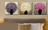 Hand Painted Palette Knife Oil Painting Art 3 Piece Modern Abstract Flower Canvas Wall Pictures Set Living Room Decoration
