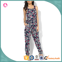 Womens Jumpsuit Latest Strings Design Floral Poly Jumpsuit Women