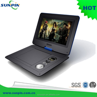 9'' 270 swivel screen portable dvd player with USB, SD, tv, game