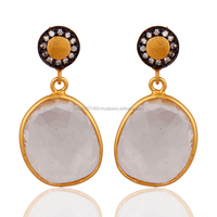 Wholesale Yellow Gold Plated Fashion Jewelry, Cubic Zirconia Bridal Fashion Earrings,