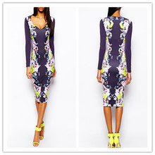 2015 fashion printed long sleeve designs bodycon women frocks/dresses (LY0226)
