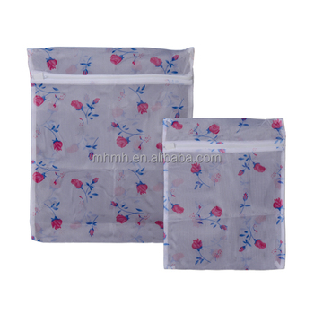 Set 2 Rose Net Mesh Laundry Washing Machine Bags Wash Protect Clothing Lingerie