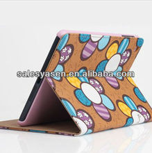 Flower flip stand leather case for ipad mini