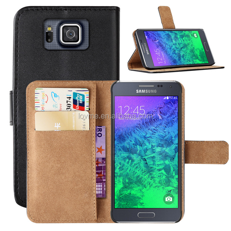 Genuine Leather Wallet Case Cover for Samsung Galaxy Alpha G850F