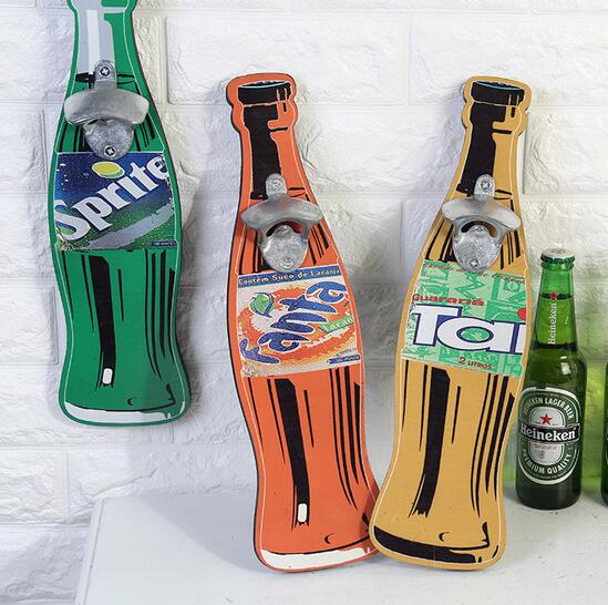 Creative vintage funny Amercian style custom wood made metal wine bottle opener wall decoration wall hanging opener
