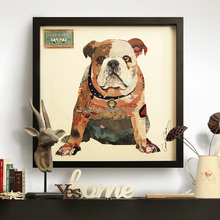 3d handmade bulldog animal oil painting for wall decoration