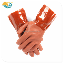 Brown PVC matte non-slip working protective gloves oil resistant acid and alkali safety gloves