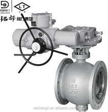 Zhengri Best Quality Low price API 6D Trunnion Flange 3PC Ball Valve 900LB Gear Electric Motor Operation