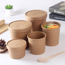 Eco-friendly disposable food grade brown kraft paper soup salad bowl with lid