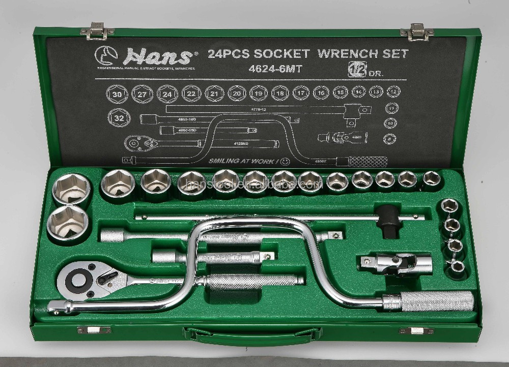 HANS tool/ 100% Made in Taiwan/ 4624-6MT/ 4624-12MT/4624MP 24PCS SOCKET WRENCH SET/ The pride of hand tools in Five Continental