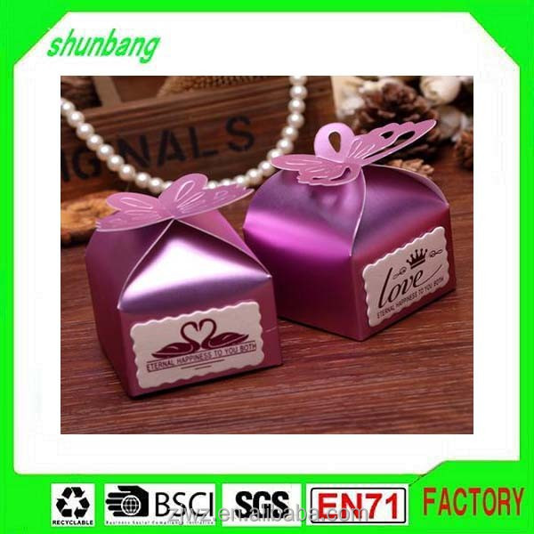 coated paper butterfly shape foldable sweet paper candy box for chocolate