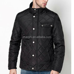 Winter Design Fashionable Black Nylon Men's Diamond Quilted Shiny Down Coat