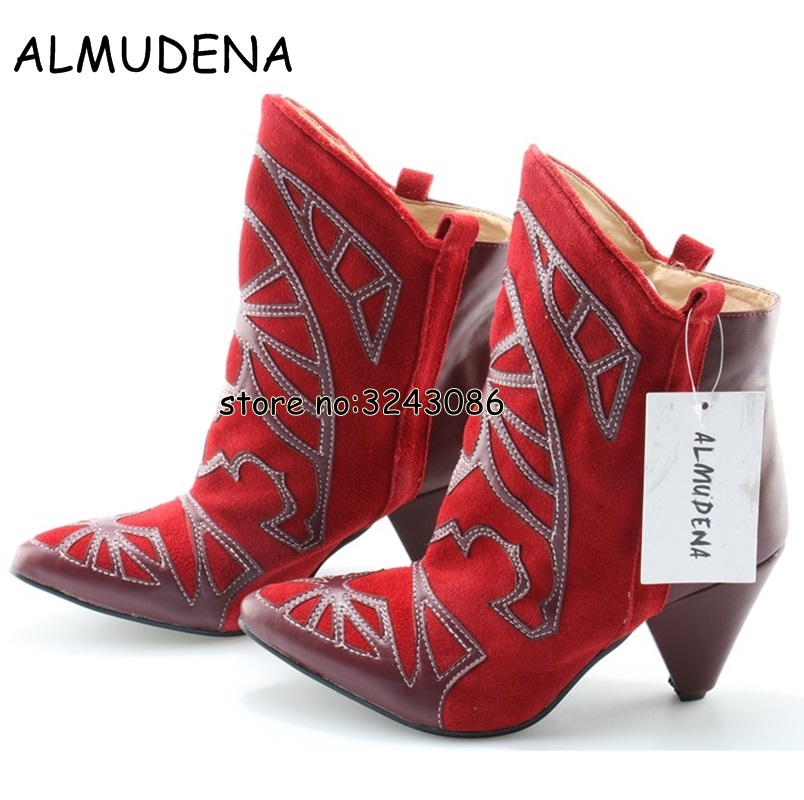 Rome Style Women Embroidery Suede Spike Heels Ankle Boots Pointed Toe High Heels Fashion Short Booties Shoes Slip-on Lady Shoes