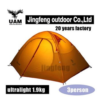 Silicon coated 3 person camping outdoor waterproof tent