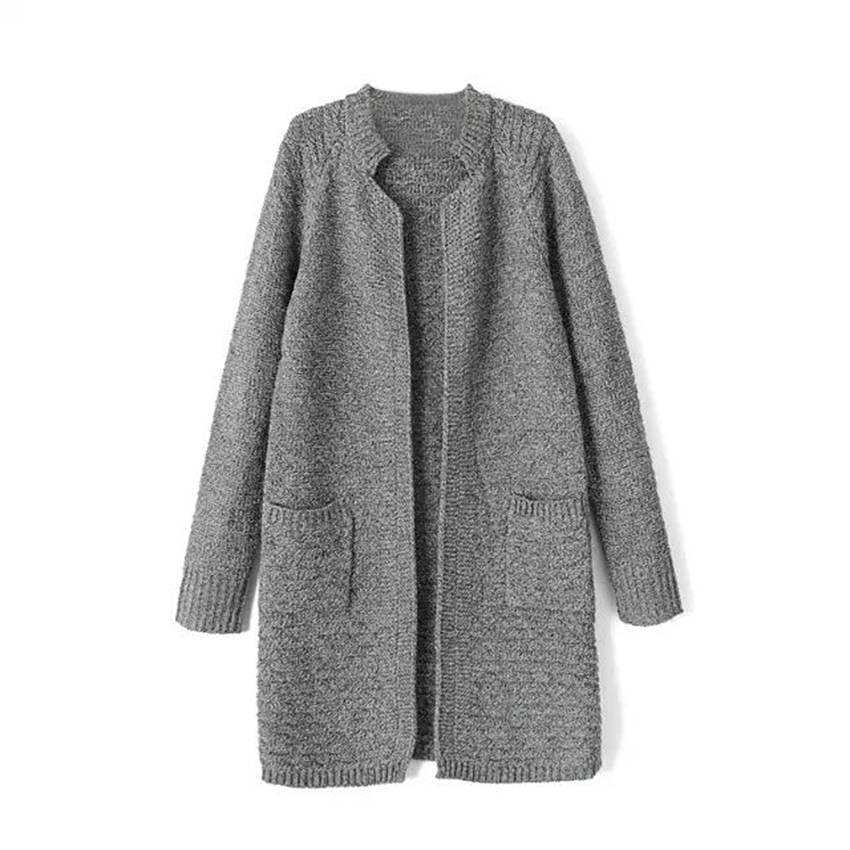 95f2d88c5b Get Quotations · Stand Collar Pocket Long Knitted Women Winter Cardigans  Fashion 2015 Autumn Korea Ladies Casual Long Sleeve
