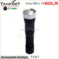 Latest factory rechargeable battery operated torch LED led flashlight TANK007 TC07 a2361