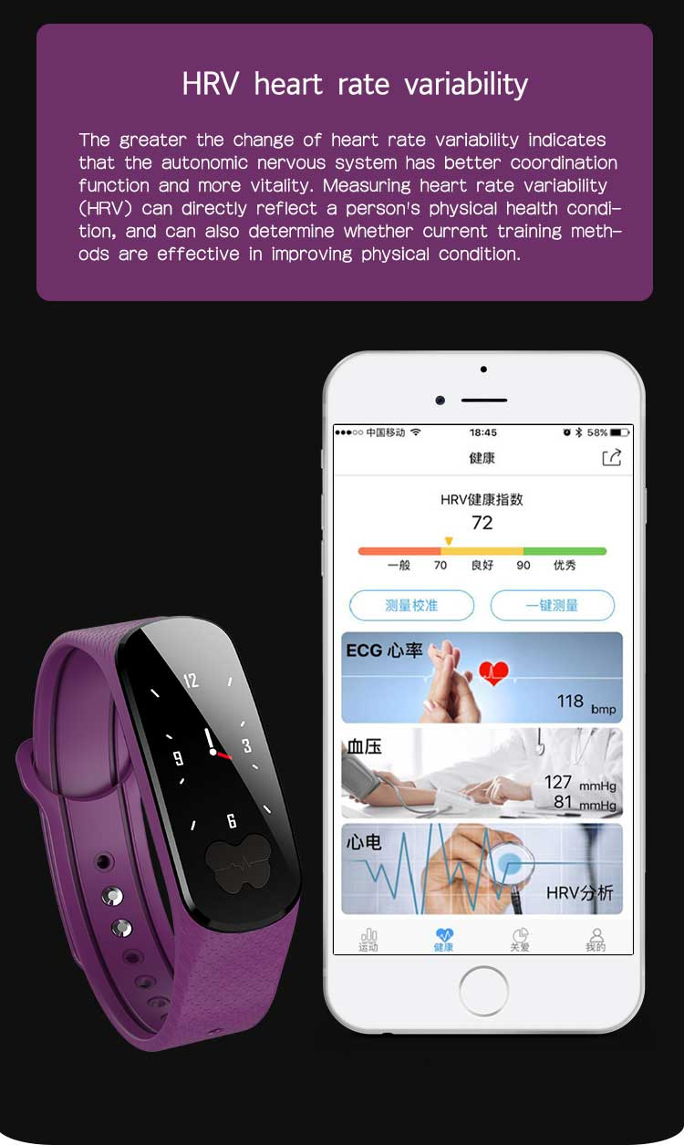 B37 Smart Bracelet Color Screen IP67 Waterproof ECG+PPG Heart Rate Monitor Bluetooth Wristband for iOS Android