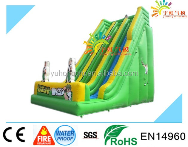 High Slide Inflatable Slide With Double Lane Slip Slides For Sale with good price and high quality