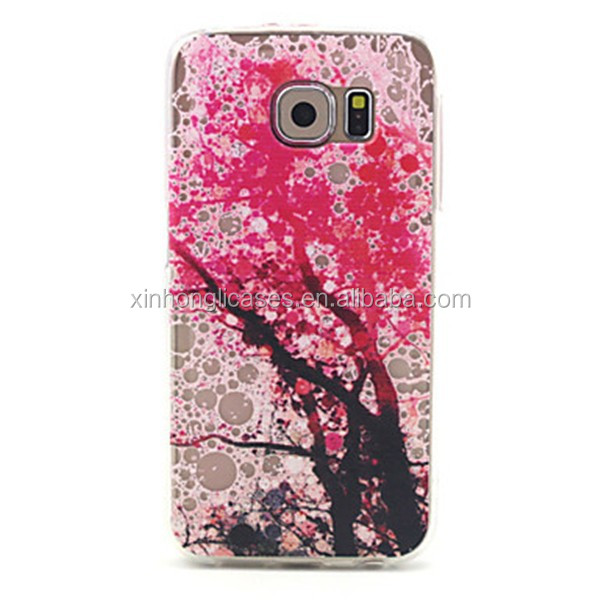 Peach Blossom Pattern TPU Soft Cover for Samsung Galaxy S6, For Samsung Phone Case, Phone Case For Samsung Galaxy S6
