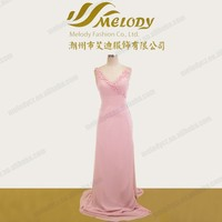 Pink handmade flower V neckline slit special sexy open back plain prom dress