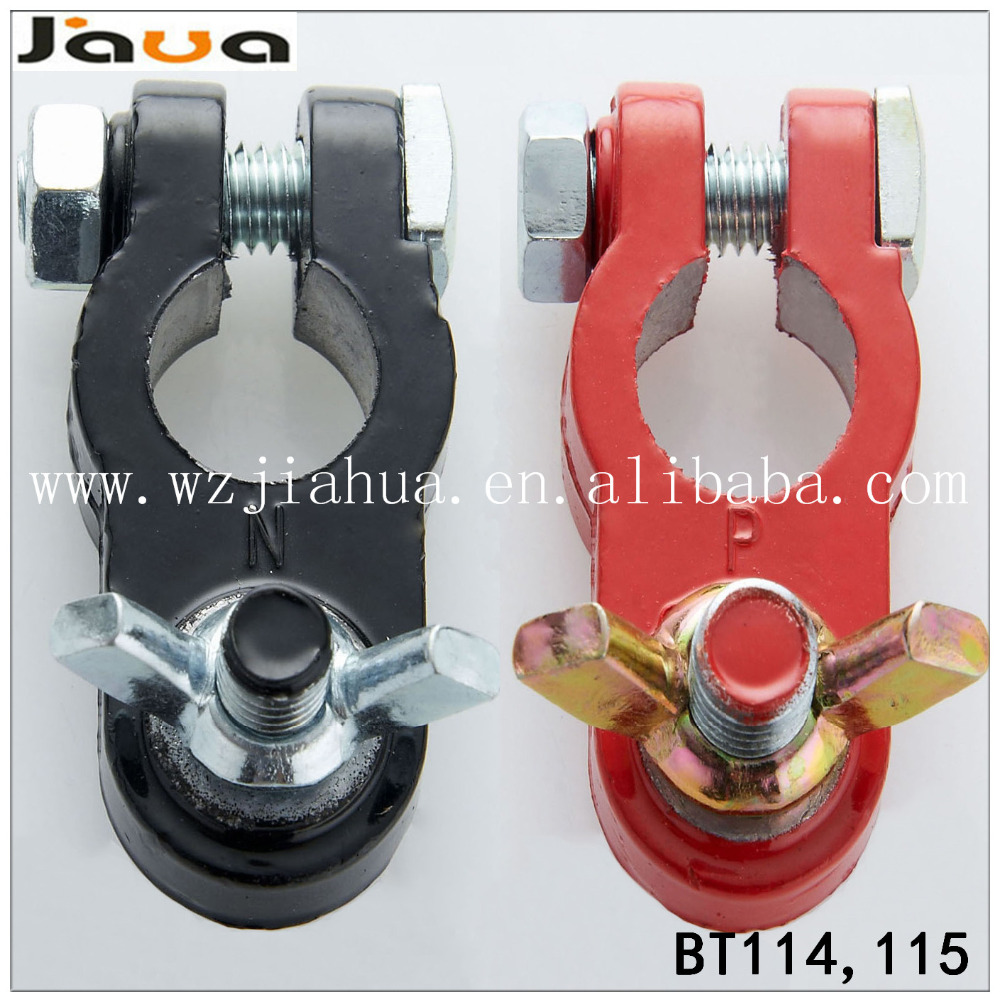 Pair Auto Battery Cable Connector Terminal Clamp Negative Positive Top-Post